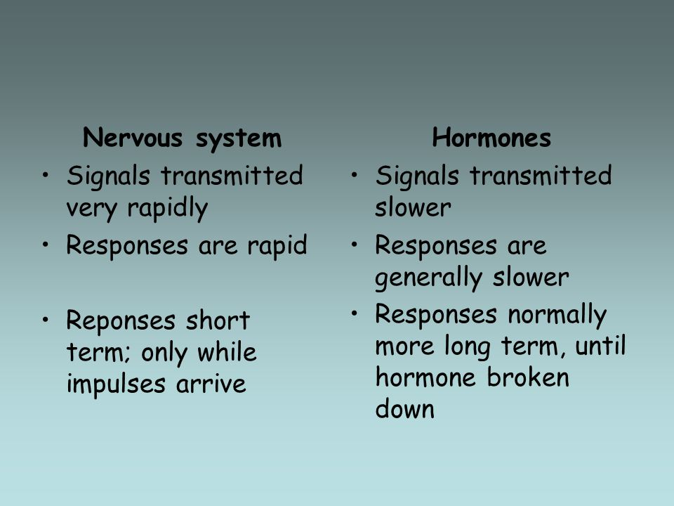 Nervous system Signals transmitted very rapidly Responses are rapid Reponses short term; only while impulses arrive Hormones Signals transmitted slowe
