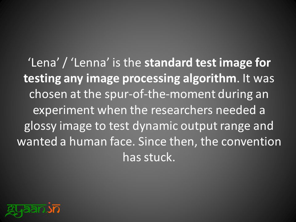 'Lena' / 'Lenna' is the standard test image for testing any image processing algorithm.
