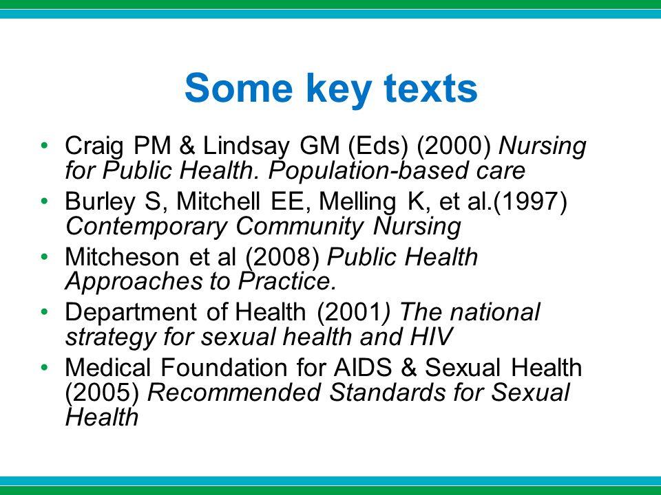 Some key texts Craig PM & Lindsay GM (Eds) (2000) Nursing for Public Health. Population-based care Burley S, Mitchell EE, Melling K, et al.(1997) Cont