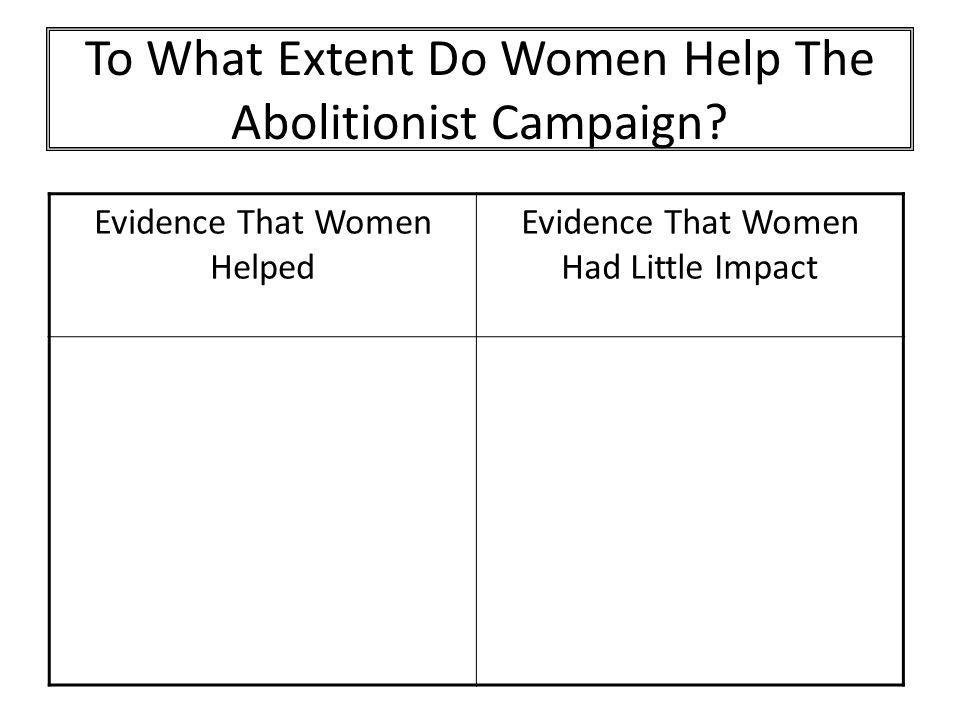 To What Extent Do Women Help The Abolitionist Campaign? Evidence That Women Helped Evidence That Women Had Little Impact
