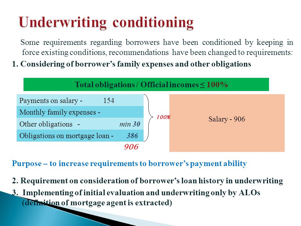 Some requirements regarding borrowers have been conditioned by keeping in force existing conditions, recommendations have been changed to requirements: 1.