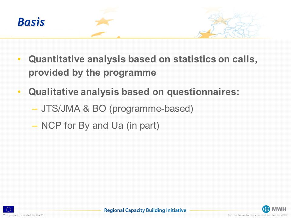This project is funded by the EUAnd implemented by a consortium led by MWH Basis Quantitative analysis based on statistics on calls, provided by the programme Qualitative analysis based on questionnaires: –JTS/JMA & BO (programme-based) –NCP for By and Ua (in part)