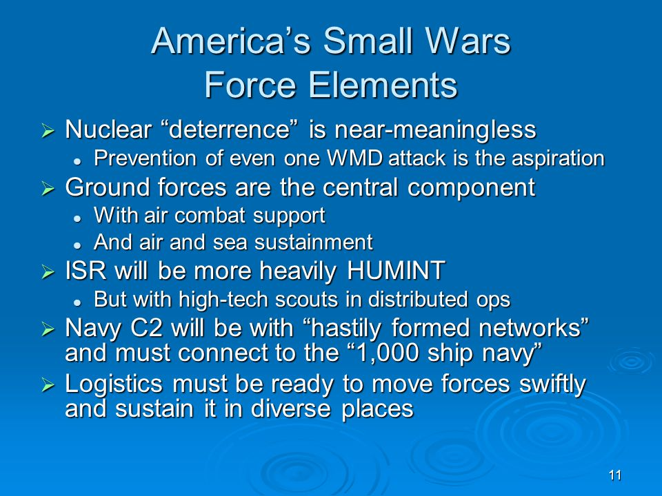 """11 America's Small Wars Force Elements  Nuclear """"deterrence"""" is near-meaningless Prevention of even one WMD attack is the aspiration Prevention of ev"""