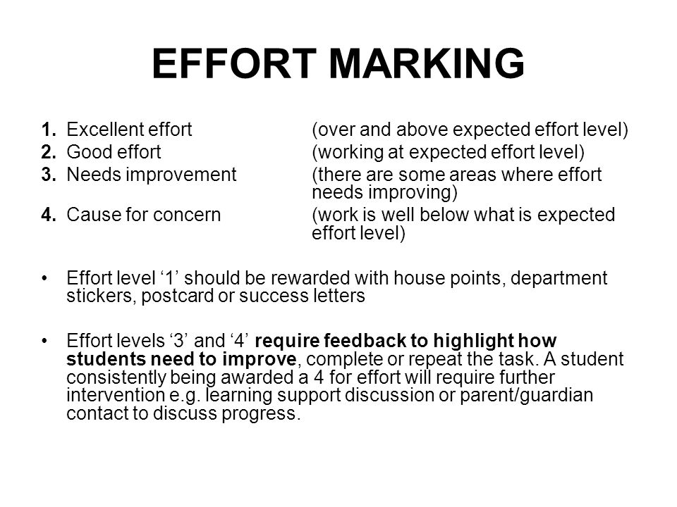 EFFORT MARKING 1.Excellent effort (over and above expected effort level) 2.Good effort (working at expected effort level) 3.
