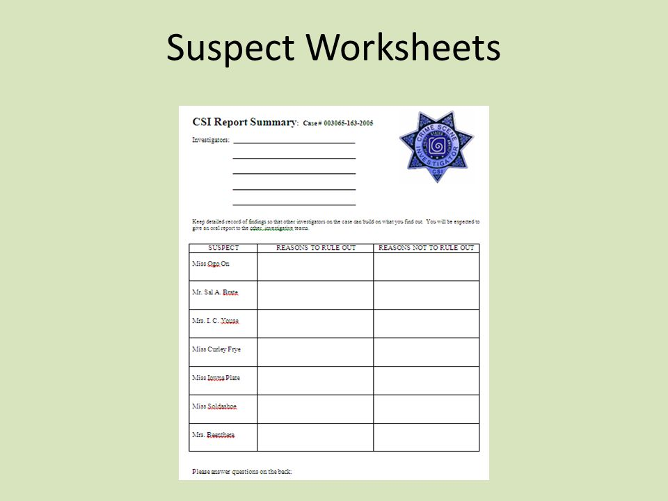 Suspect Worksheets
