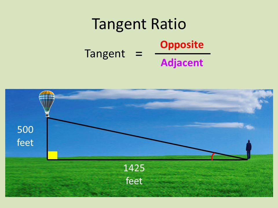 500 feet 1425 feet Tangent Ratio Tangent Adjacent Opposite =