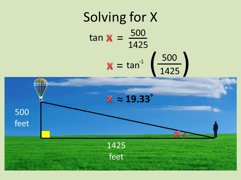 500 1425 ( ( tan 1425 500 500 feet 1425 feet Solving for X = tan = ≈ 19.33 ⁰