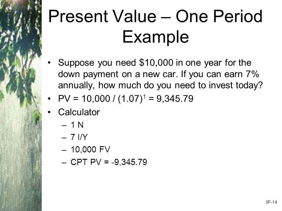 Present Value – One Period Example Suppose you need $10,000 in one year for the down payment on a new car.