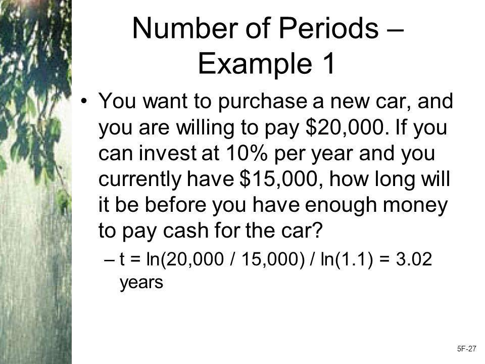 Number of Periods – Example 1 You want to purchase a new car, and you are willing to pay $20,000.