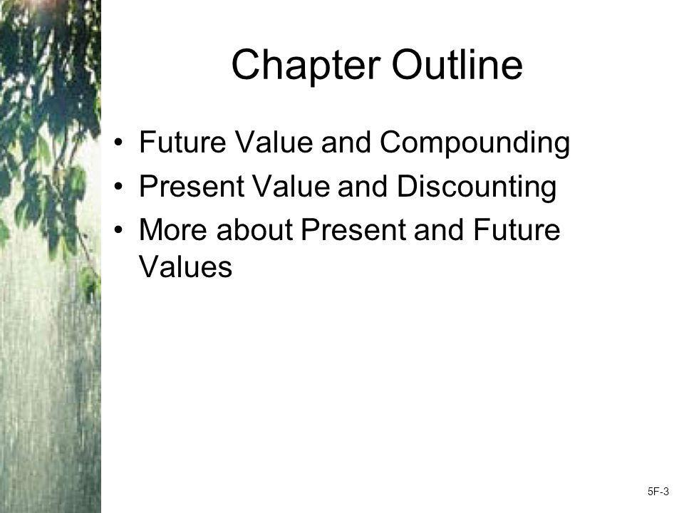 Chapter Outline Future Value and Compounding Present Value and Discounting More about Present and Future Values 5F-3