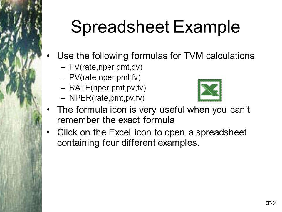 Spreadsheet Example Use the following formulas for TVM calculations –FV(rate,nper,pmt,pv) –PV(rate,nper,pmt,fv) –RATE(nper,pmt,pv,fv) –NPER(rate,pmt,pv,fv) The formula icon is very useful when you can't remember the exact formula Click on the Excel icon to open a spreadsheet containing four different examples.