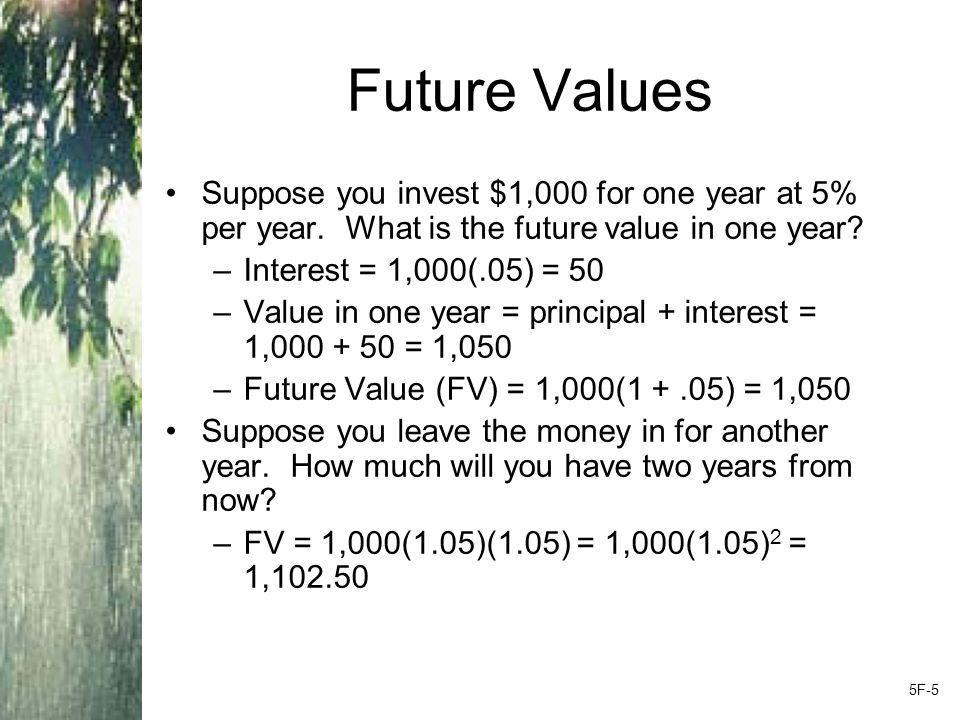 Future Values Suppose you invest $1,000 for one year at 5% per year.