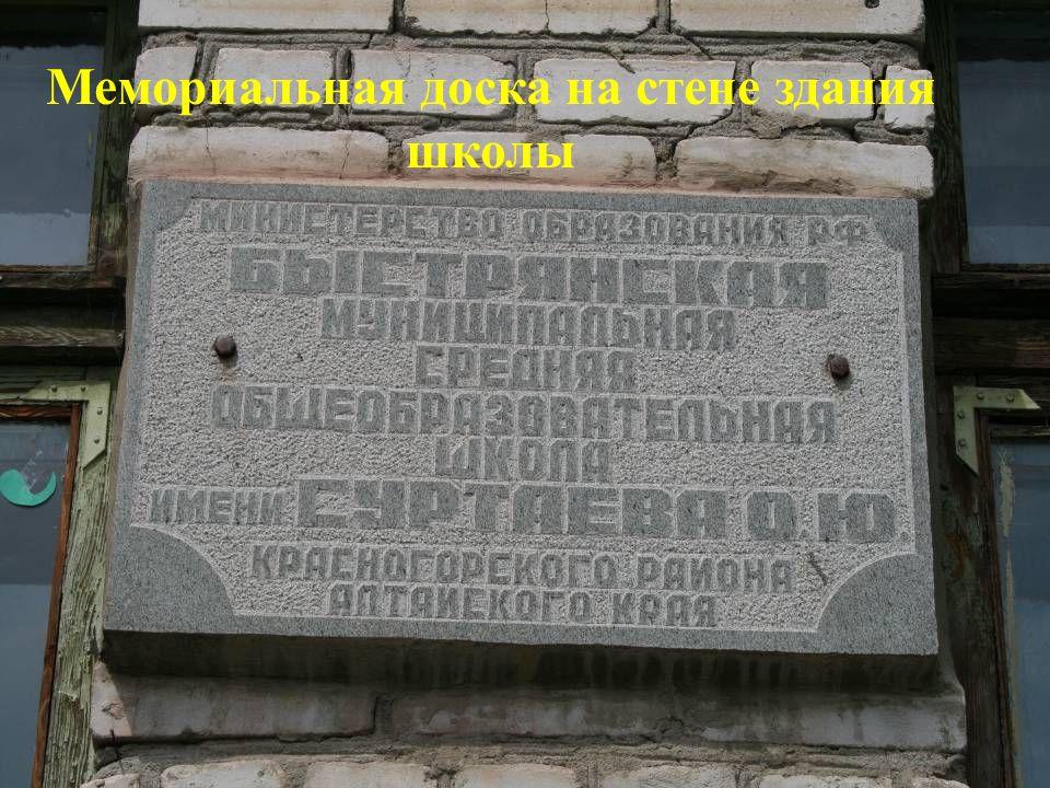 Мемориальная доска на стене здания школы