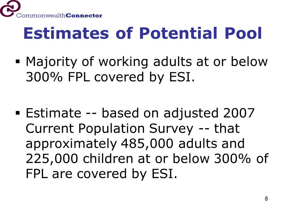 8 Estimates of Potential Pool  Majority of working adults at or below 300% FPL covered by ESI.