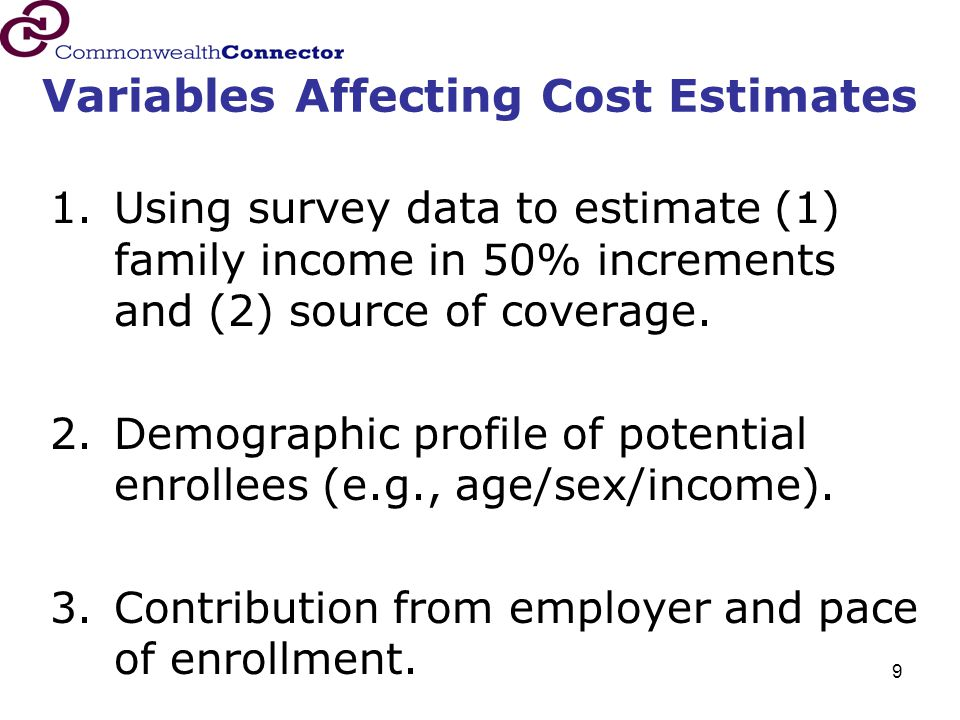 9 Variables Affecting Cost Estimates 1.Using survey data to estimate (1) family income in 50% increments and (2) source of coverage.