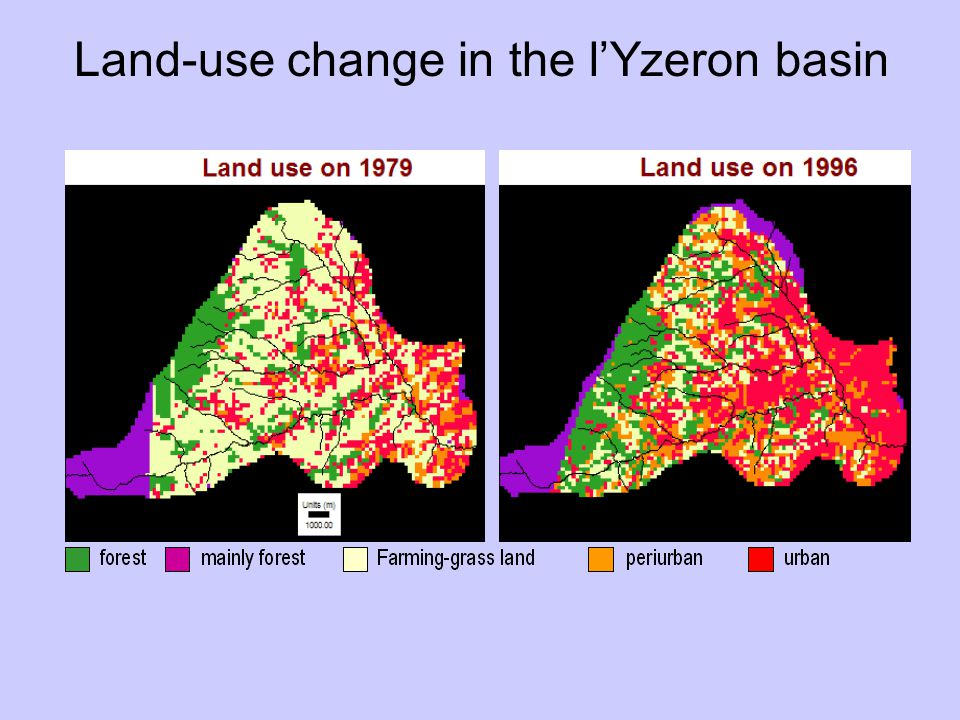Land-use change in the l'Yzeron basin