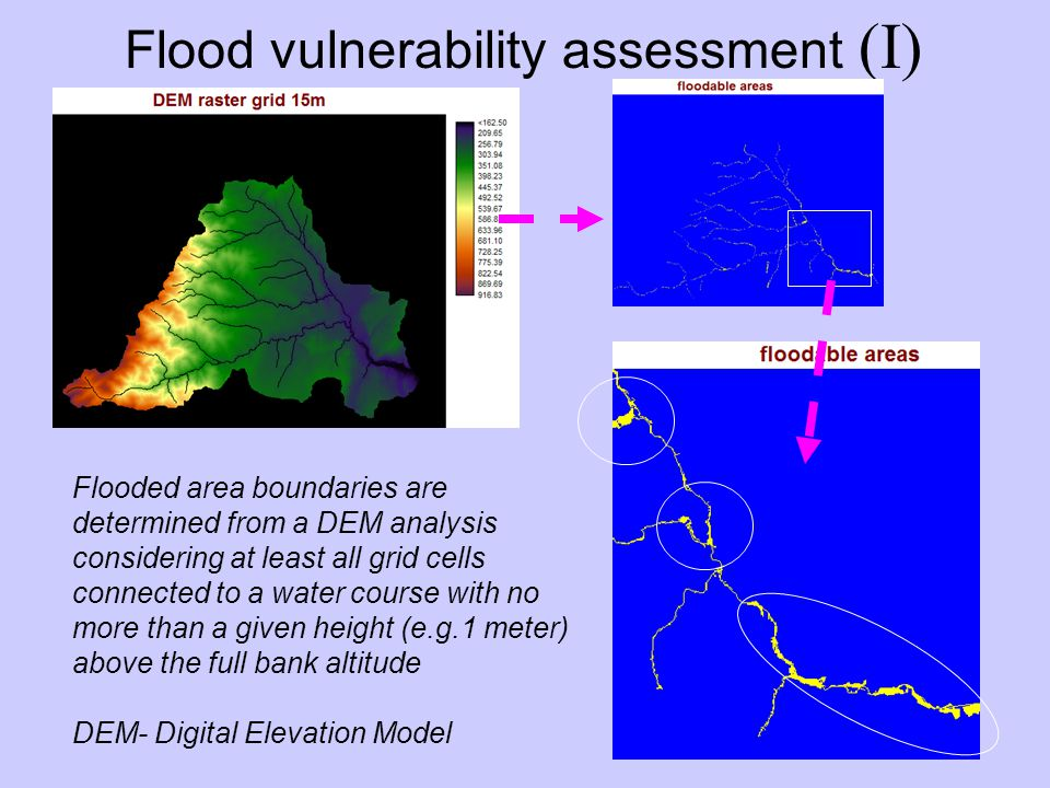 Flooded area boundaries are determined from a DEM analysis considering at least all grid cells connected to a water course with no more than a given height (e.g.1 meter) above the full bank altitude DEM- Digital Elevation Model Flood vulnerability assessment (I)