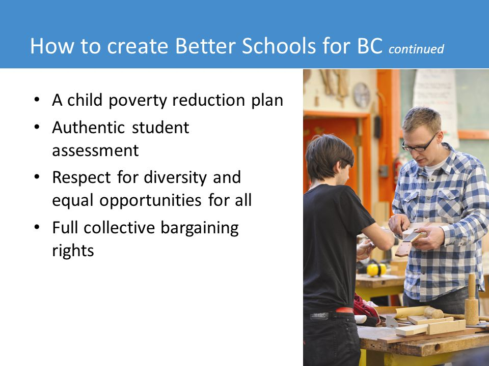 Prepared by BCTF Research, October 2012 11 How to create Better Schools for BC continued A child poverty reduction plan Authentic student assessment Respect for diversity and equal opportunities for all Full collective bargaining rights