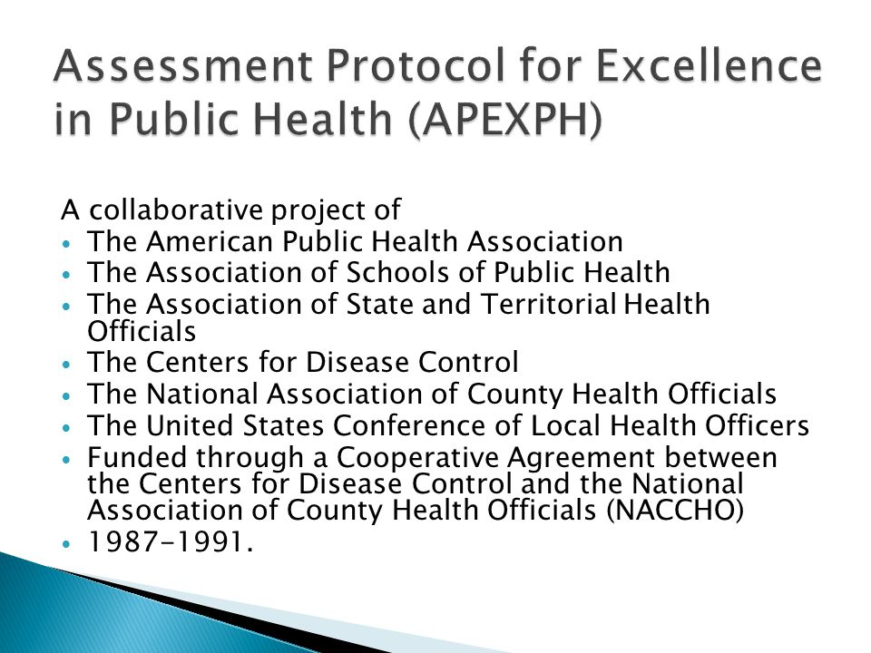 A collaborative project of The American Public Health Association The Association of Schools of Public Health The Association of State and Territorial