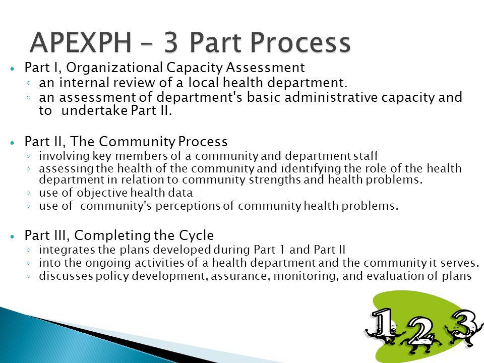 Part I, Organizational Capacity Assessment ◦ an internal review of a local health department. ◦ an assessment of department's basic administrative cap