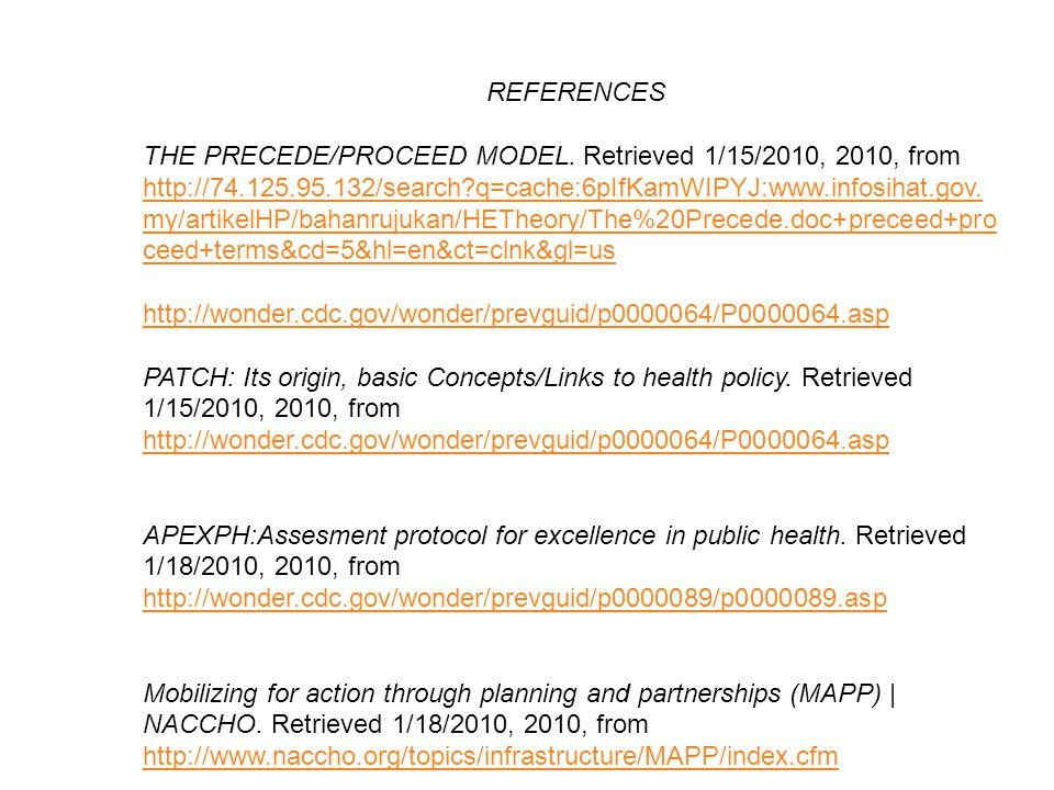REFERENCES THE PRECEDE/PROCEED MODEL. Retrieved 1/15/2010, 2010, from http://74.125.95.132/search?q=cache:6pIfKamWIPYJ:www.infosihat.gov. my/artikelHP