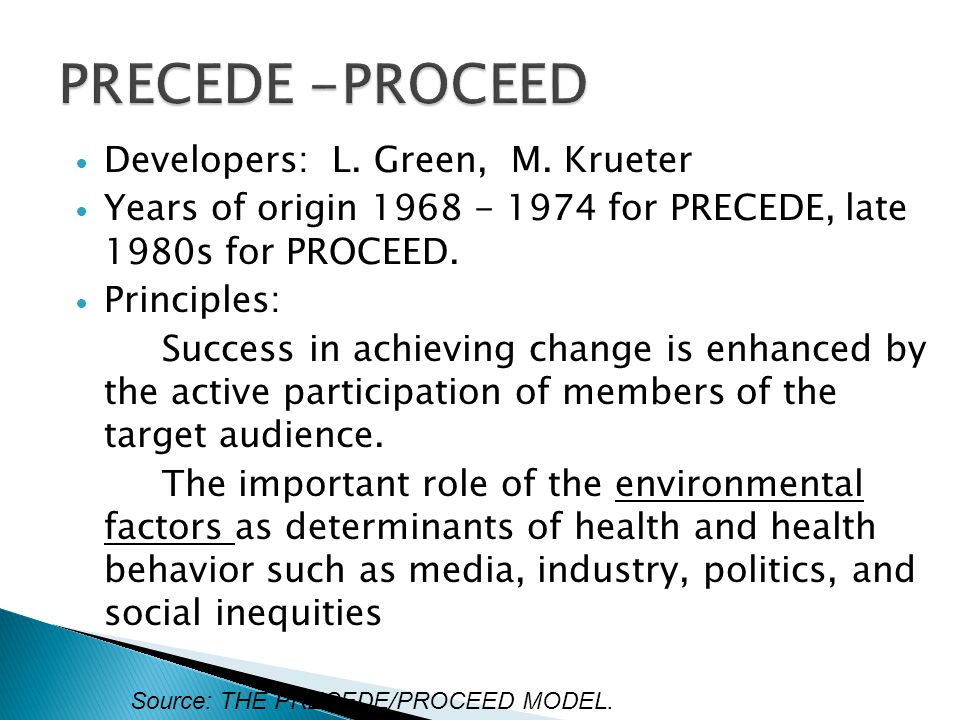 Developers: L. Green, M. Krueter Years of origin 1968 - 1974 for PRECEDE, late 1980s for PROCEED. Principles: Success in achieving change is enhanced