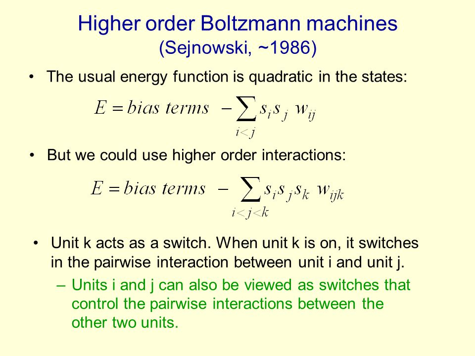 Higher order Boltzmann machines (Sejnowski, ~1986) The usual energy function is quadratic in the states: But we could use higher order interactions: U