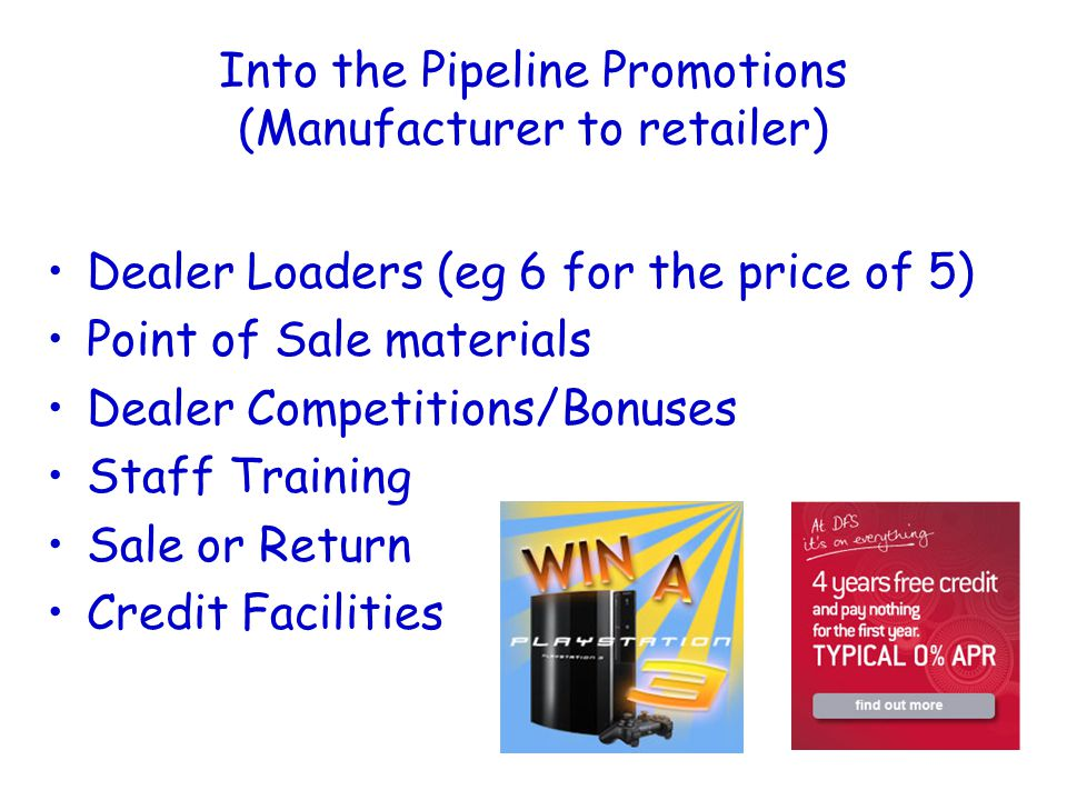 Into the Pipeline Promotions (Manufacturer to retailer) Dealer Loaders (eg 6 for the price of 5) Point of Sale materials Dealer Competitions/Bonuses Staff Training Sale or Return Credit Facilities