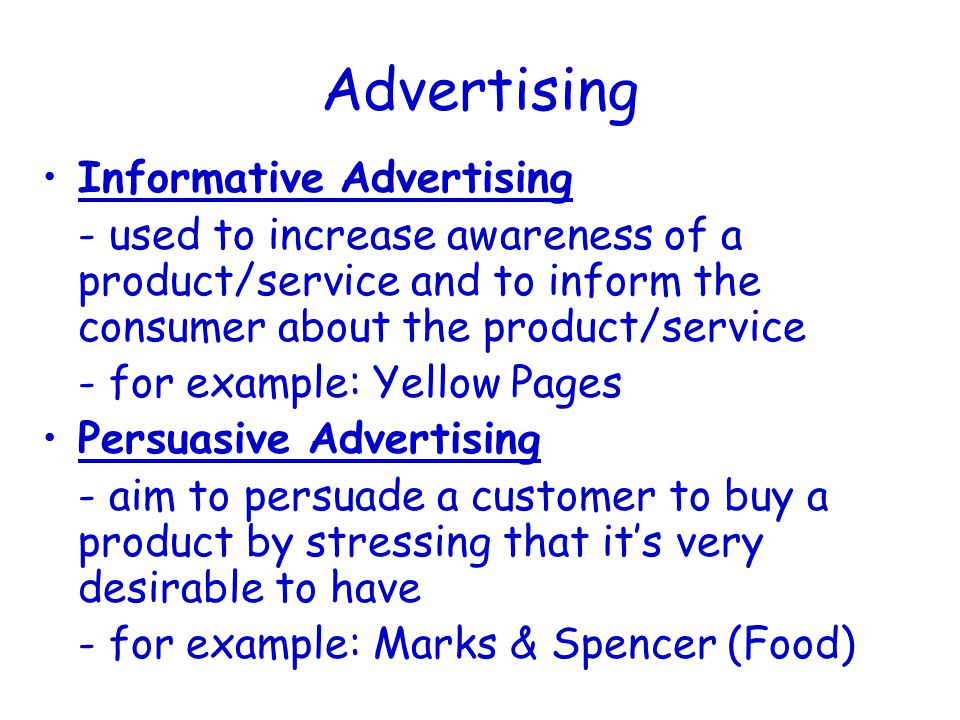 Advertising (Types) TV Radio Cinema Magazines / Newspapers Posters / Billboards Internet Sponsorship
