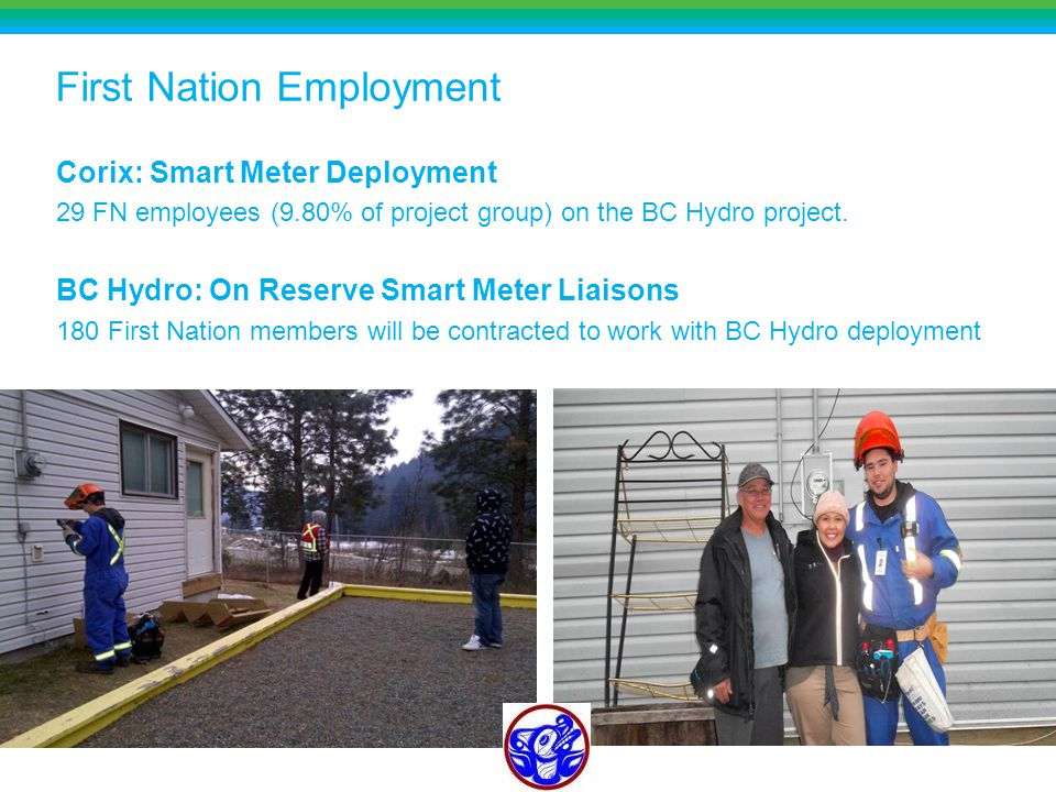 First Nation Employment Corix: Smart Meter Deployment 29 FN employees (9.80% of project group) on the BC Hydro project.