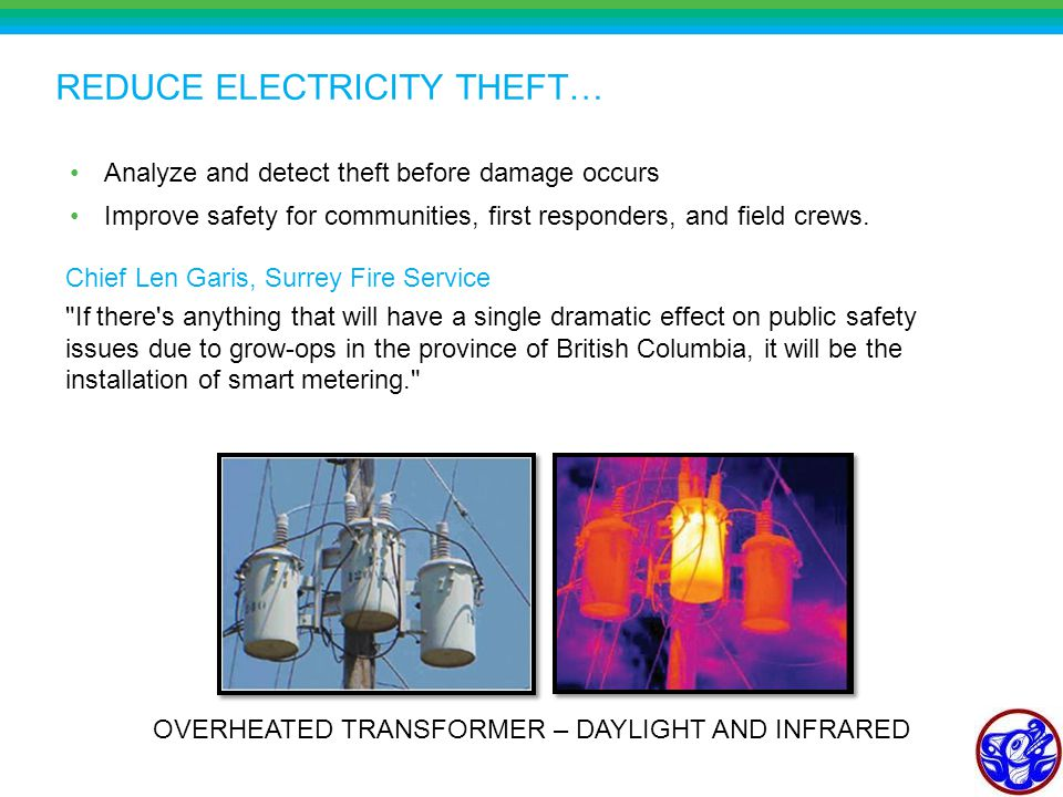 REDUCE ELECTRICITY THEFT… Analyze and detect theft before damage occurs Improve safety for communities, first responders, and field crews.