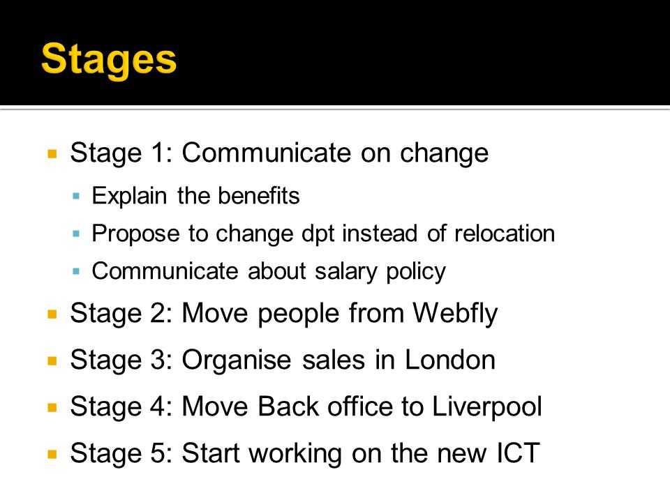  Stage 1: Communicate on change  Explain the benefits  Propose to change dpt instead of relocation  Communicate about salary policy  Stage 2: Move people from Webfly  Stage 3: Organise sales in London  Stage 4: Move Back office to Liverpool  Stage 5: Start working on the new ICT