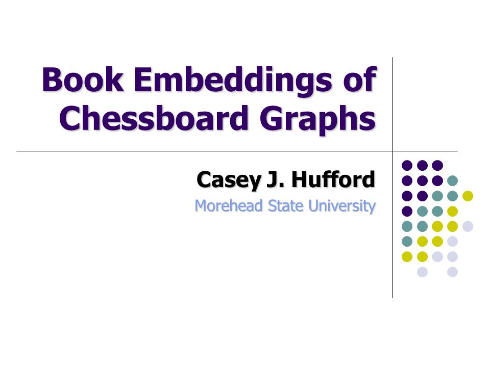 Book Embeddings of Chessboard Graphs Casey J. Hufford Morehead State University