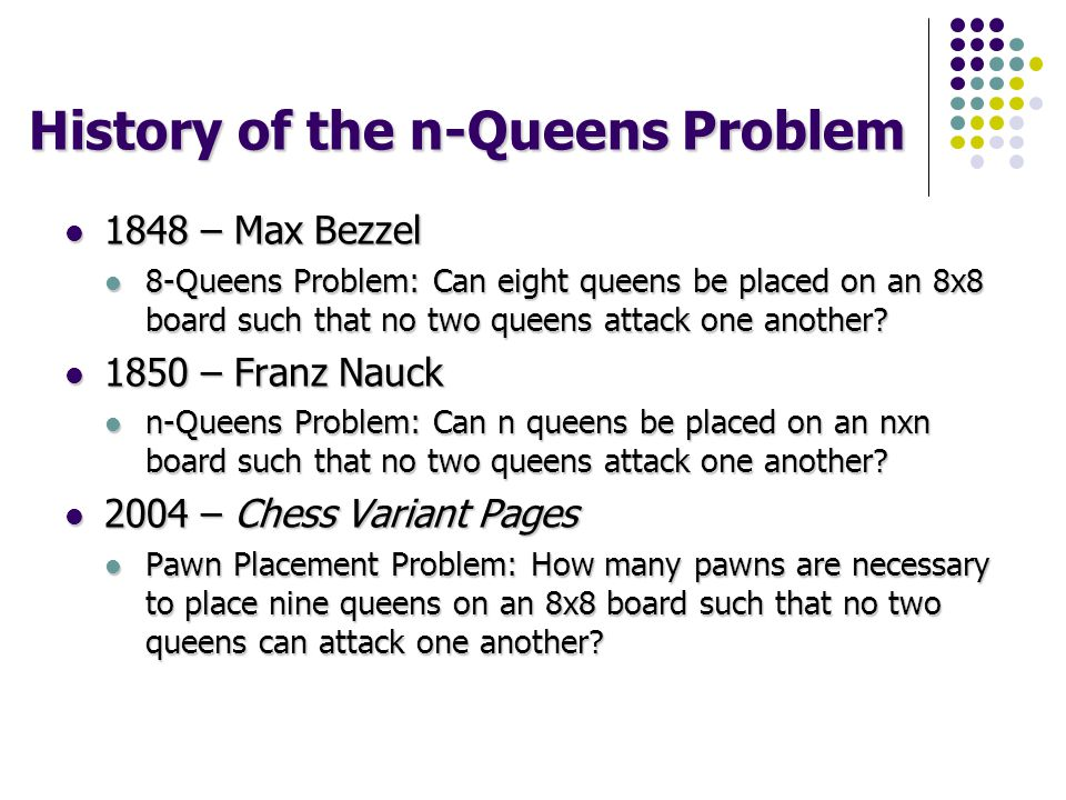History of the n-Queens Problem 1848 – Max Bezzel 1848 – Max Bezzel 8-Queens Problem: Can eight queens be placed on an 8x8 board such that no two queens attack one another.
