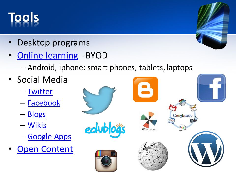 Desktop programs Online learning - BYOD Online learning – Android, iphone: smart phones, tablets, laptops Social Media – Twitter Twitter – Facebook Facebook – Blogs Blogs – Wikis Wikis – Google Apps Google Apps Open Content