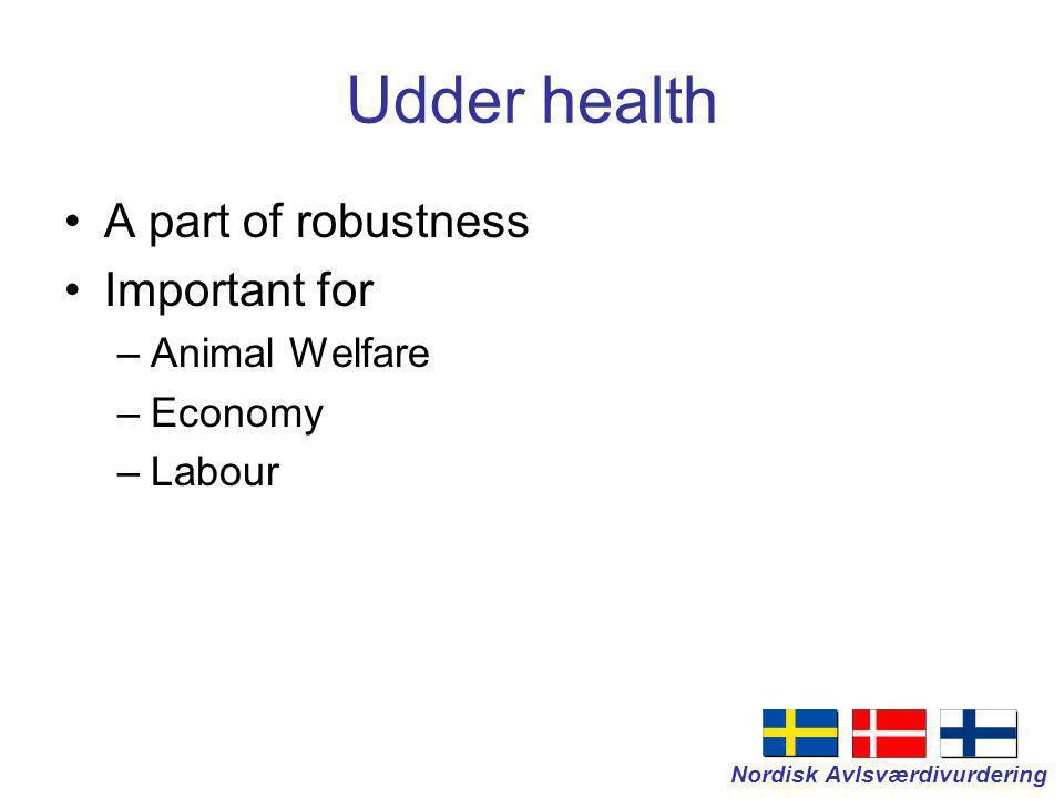 Nordisk Avlsværdivurdering Udder health A part of robustness Important for –Animal Welfare –Economy –Labour