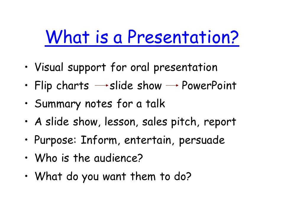 What is PowerPoint? PowerPoint is a template for your ideas: –Format, style, fonts, colours, Notes: Topic and bullet text Pictures: with or without te