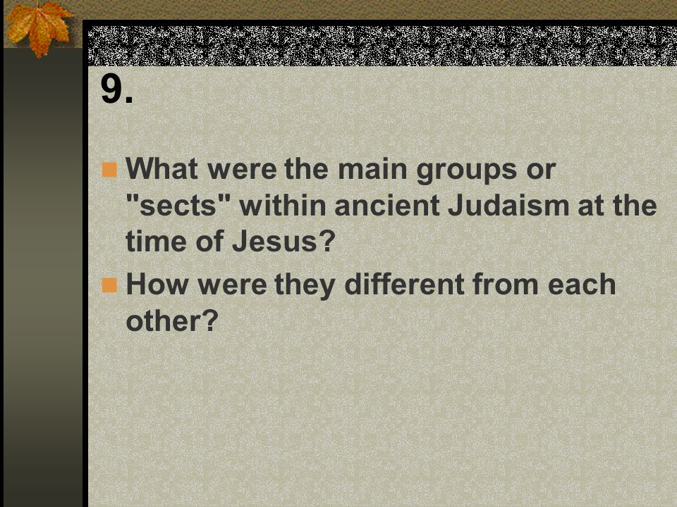 9. What were the main groups or