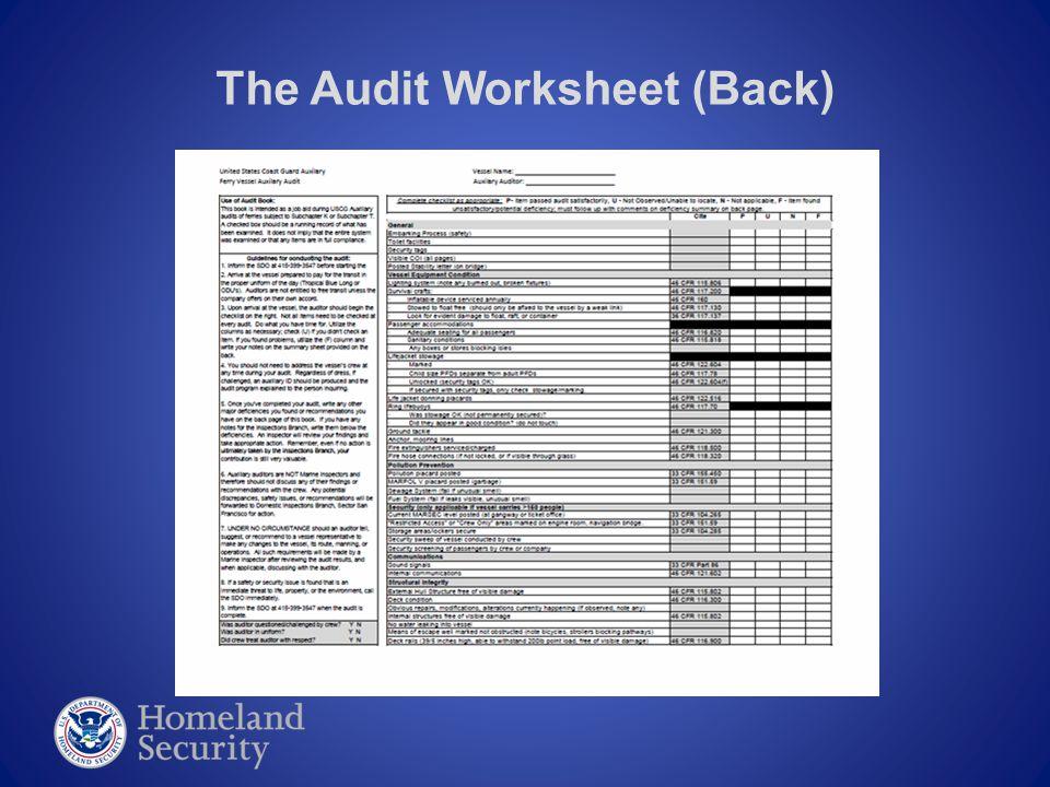 The Audit Worksheet (Back)