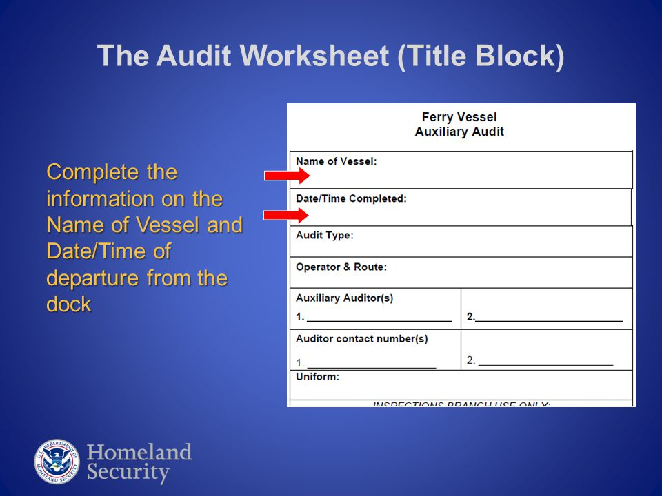 The Audit Worksheet (Name/Phone) You MUST list the names of both auditors on a team assignment.