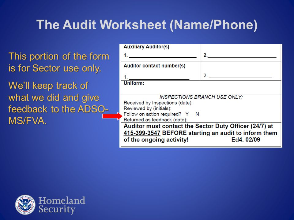 The Audit Worksheet (Title Block) Ordinarily, your Audit Type will just be marked as a RANDOM Type.
