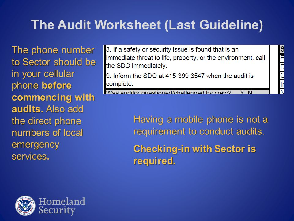 The Audit Worksheet (Layout) Your Name, the VESSEL name.