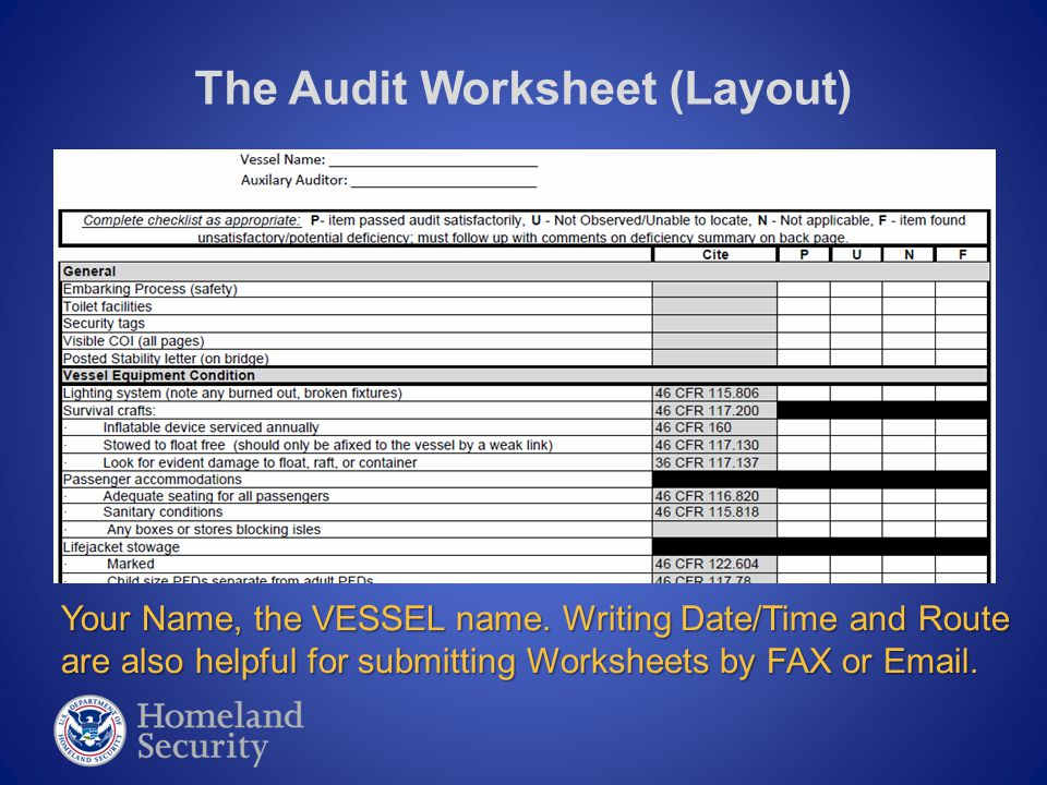 The Audit Worksheet (Layout) Your Name, the VESSEL name. Writing Date/Time and Route are also helpful for submitting Worksheets by FAX or Email.