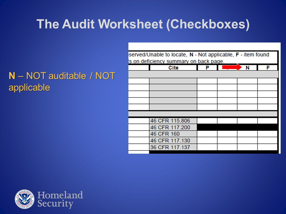The Audit Worksheet (Checkboxes) F – Indicates a FAILED audit or make a mark in this box in order to indicate a Discrepancy was found; You must explain each issue in the Deficiency Summary section of the Worksheet, located on the last page.