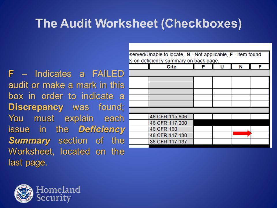 The Audit Worksheet (General Section)