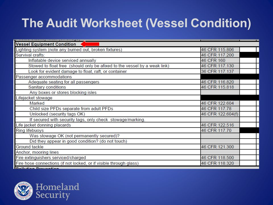 The Audit Worksheet (Vessel Condition)