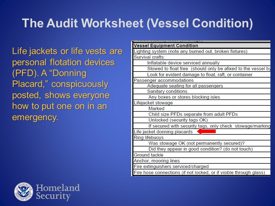 """The Audit Worksheet (Vessel Condition) Life jackets or life vests are personal flotation devices (PFD). A """"Donning Placard,"""" conspicuously posted, sho"""