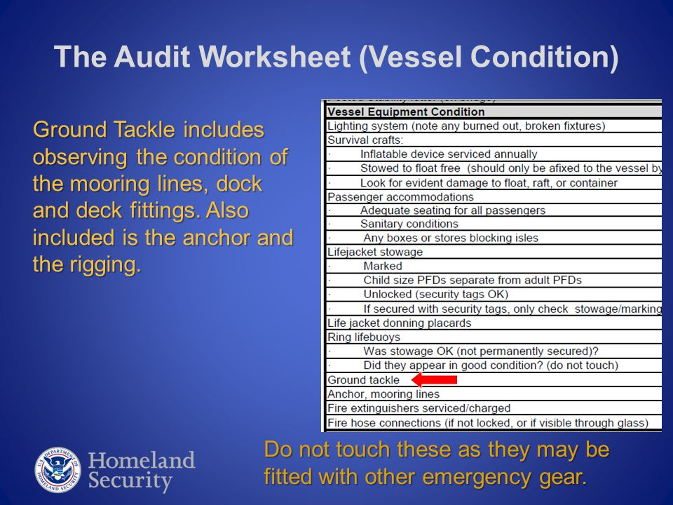 The Audit Worksheet (Vessel Condition) Ground Tackle includes observing the condition of the mooring lines, dock and deck fittings. Also included is t