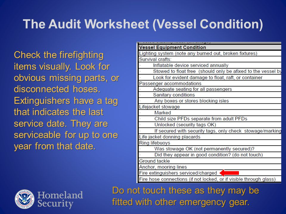 The Audit Worksheet (Vessel Condition) Check the firefighting items visually.