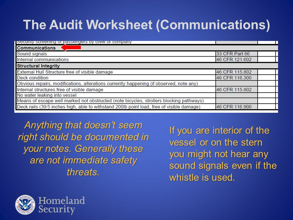 The Audit Worksheet (Communications) Anything that doesn't seem right should be documented in your notes. Generally these are not immediate safety thr